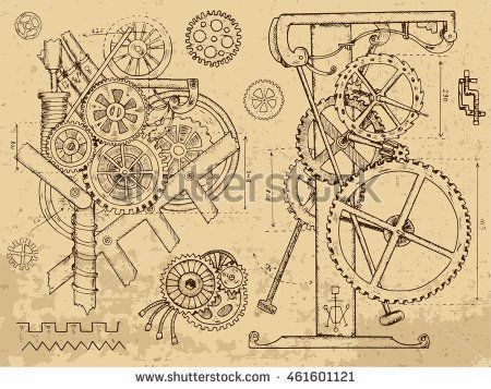 450x357 Retro Mechanisms And Machines In Steampunk Style On Textured