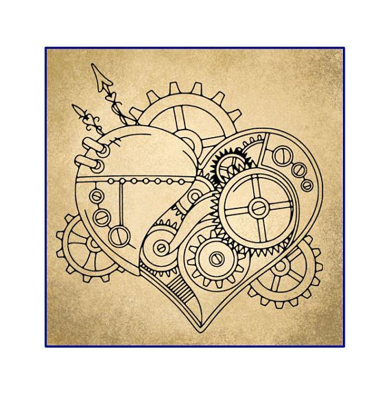 570x576 Steampunk Gear Heart Steampunk Gears Steampunk Heart Vinyl
