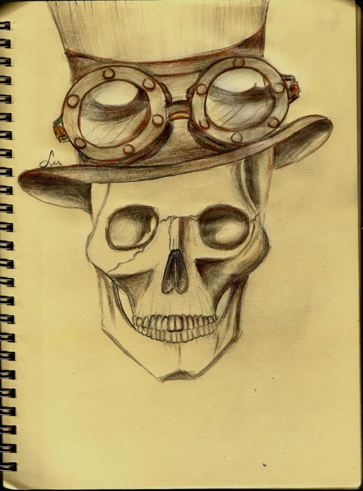 Steampunk Skull Drawing at GetDrawings.com   Free for personal use ...