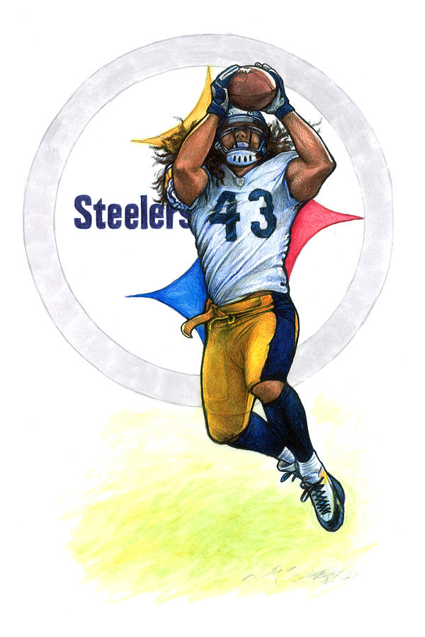 600x900 Polamalu Drawing By Erik Schutzman