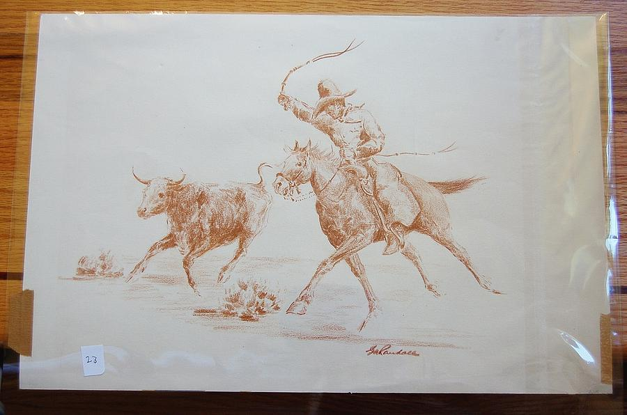 900x596 Cowboy Roping A Steer Drawing By Smart Healthy Life