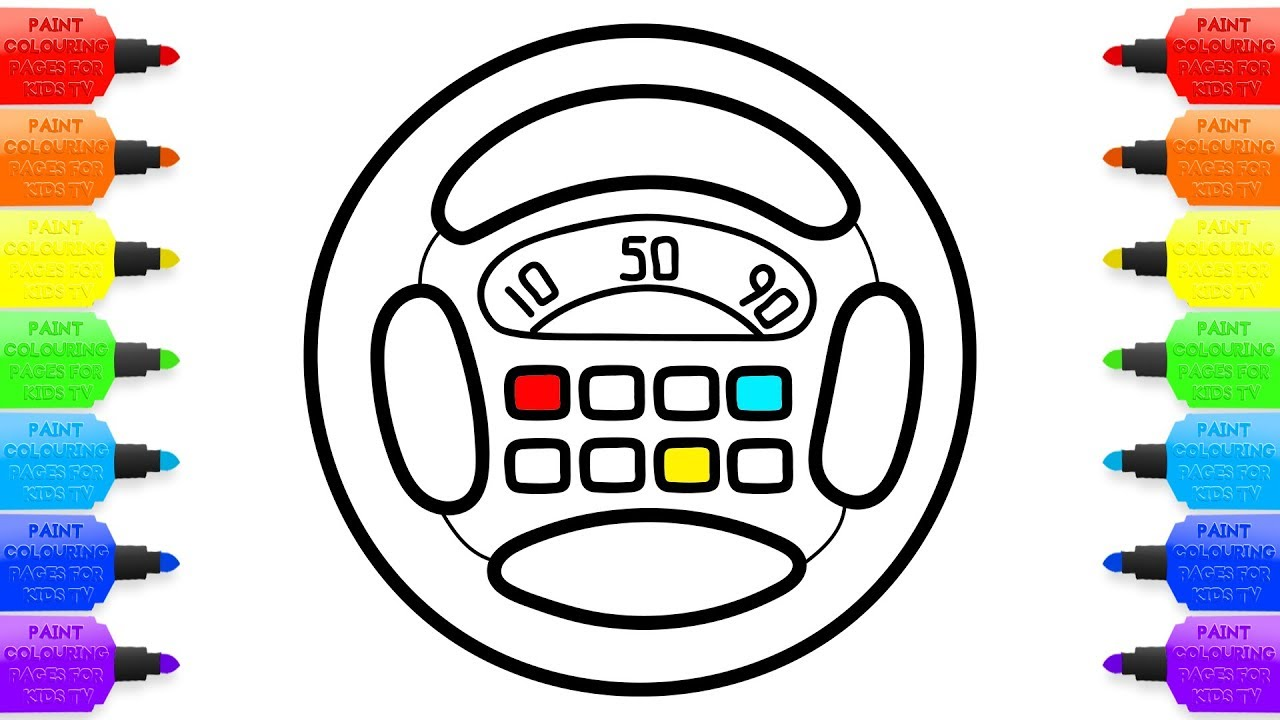 1280x720 Baby Musical Toy Steering Wheel Drawing And Coloring Pages