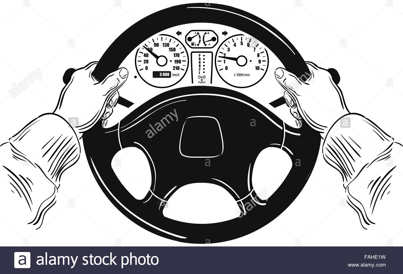 1300x885 Driver Design Element With Hands Holding Steering Wheel. Vector