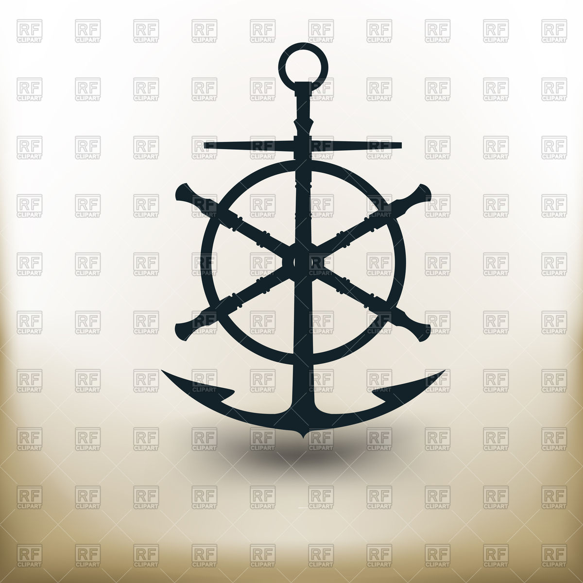 1200x1200 Pictogram Of Ancient Anchor And Steering Wheel Royalty Free Vector