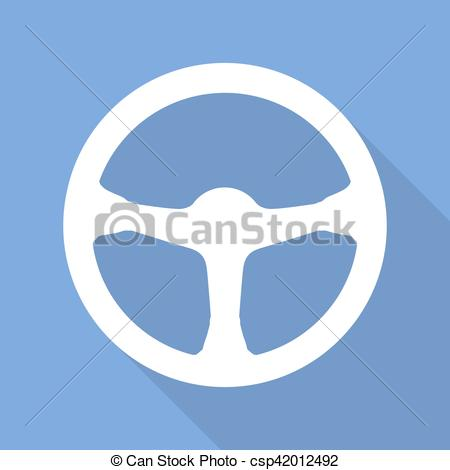 450x470 Steering Wheel Icon. Vector Illustration. White Car Steering