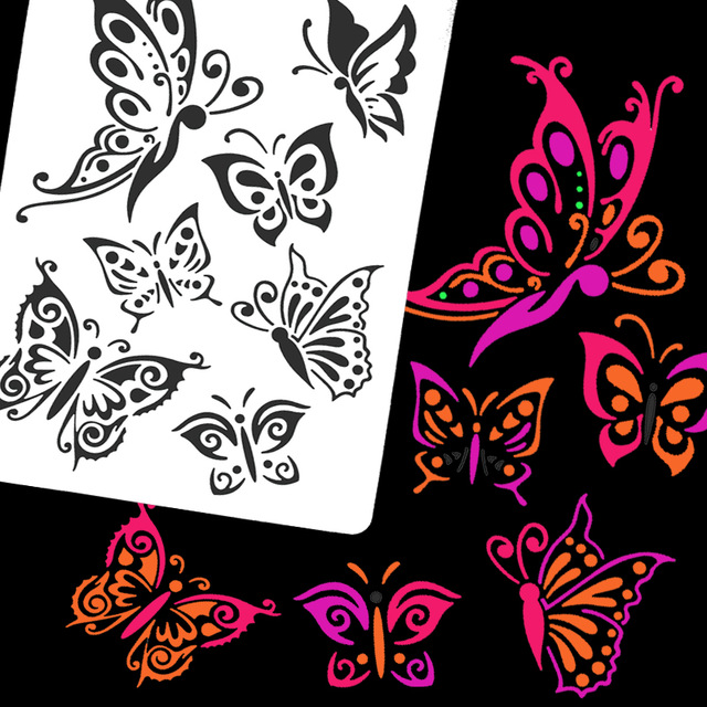 640x640 5pcs Glitter Woman Drawing Washing Painting Template Tattoo