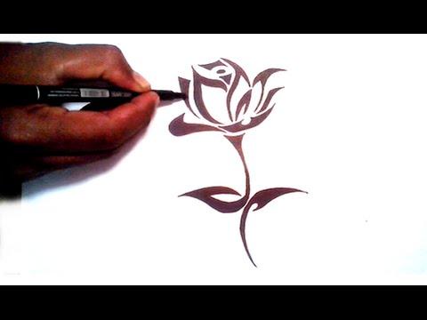 480x360 Drawing A Beautiful Tribal Rose Tattoo Stencil Design