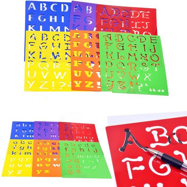 640x640 Kids Capitall Alphabet Letter Drawing Templates 6pcs Washable