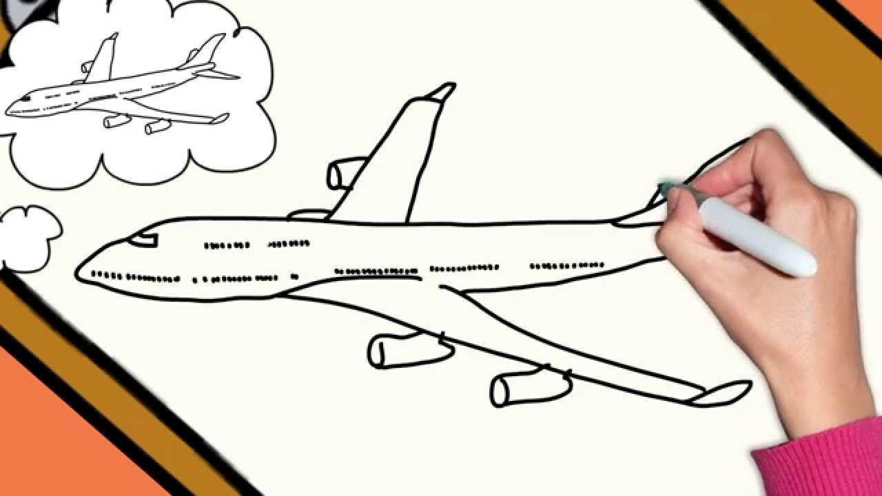 1280x720 How To Draw A Plane [Airplane] Boeing 747 Step By Step