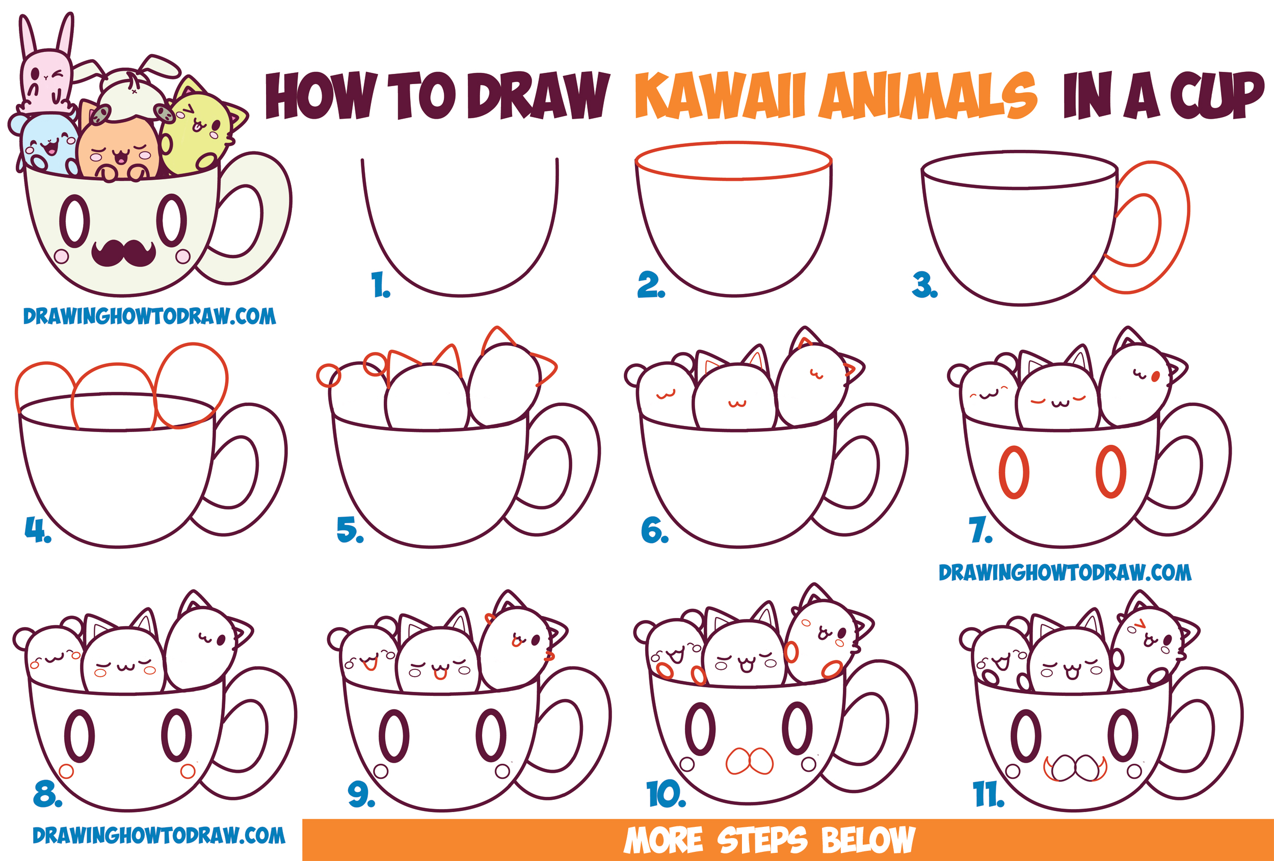 2500x1690 How To Draw Cute Kawaii Animals And Characters In A Coffee Cup