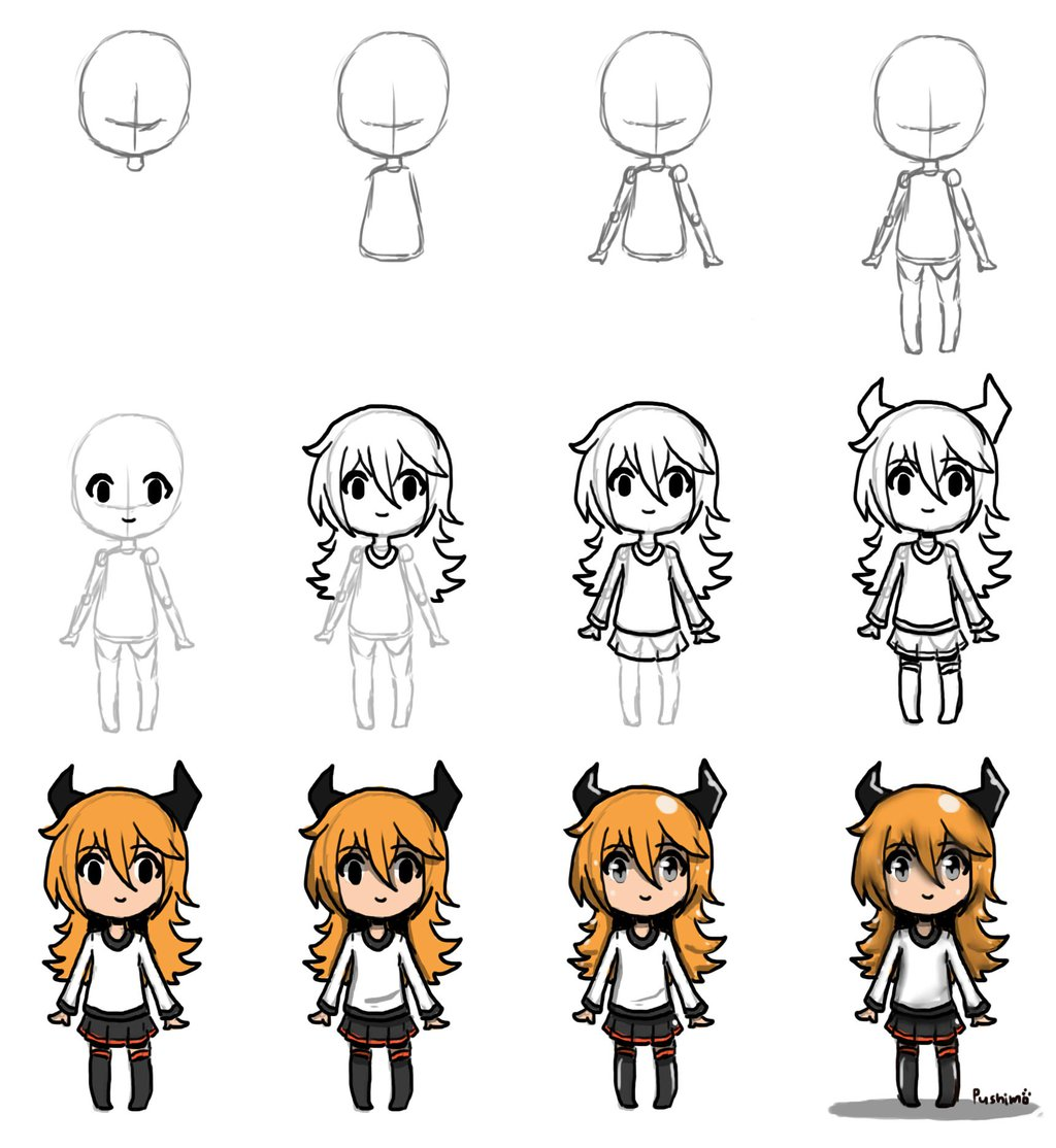 Step By Step Anime Drawing at GetDrawings | Free download