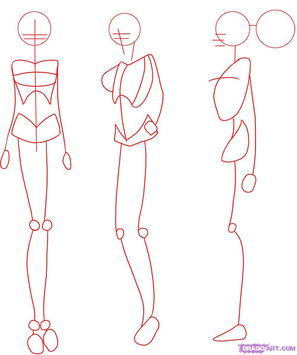 1000x1194 How To Draw Manga Bodies, Step By Step, Anime Females, Anime, Draw