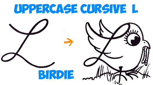 511x285 How To Draw Cartoon Bird With Worm From Uppercase Cursive L Simple