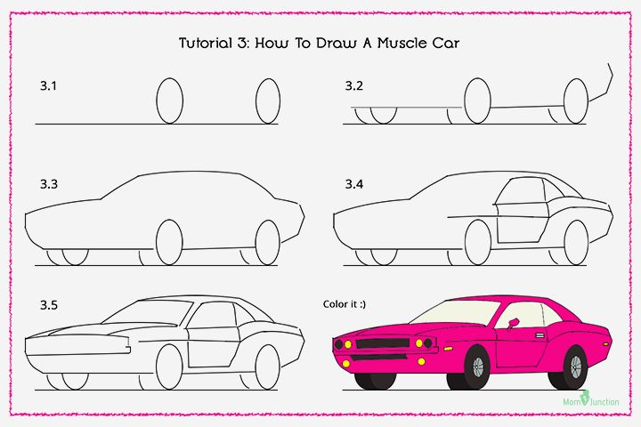 720x480 How To Draw A Car Step By Step For Kids Cars, Drawings