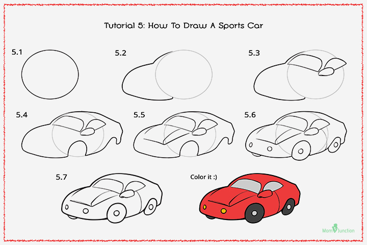 720x480 How To Draw A Car Step By Step For Kids