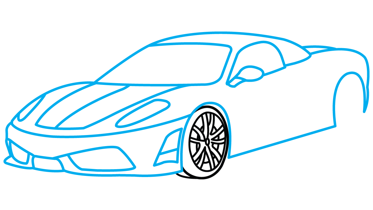 how to draw a car step by step behind