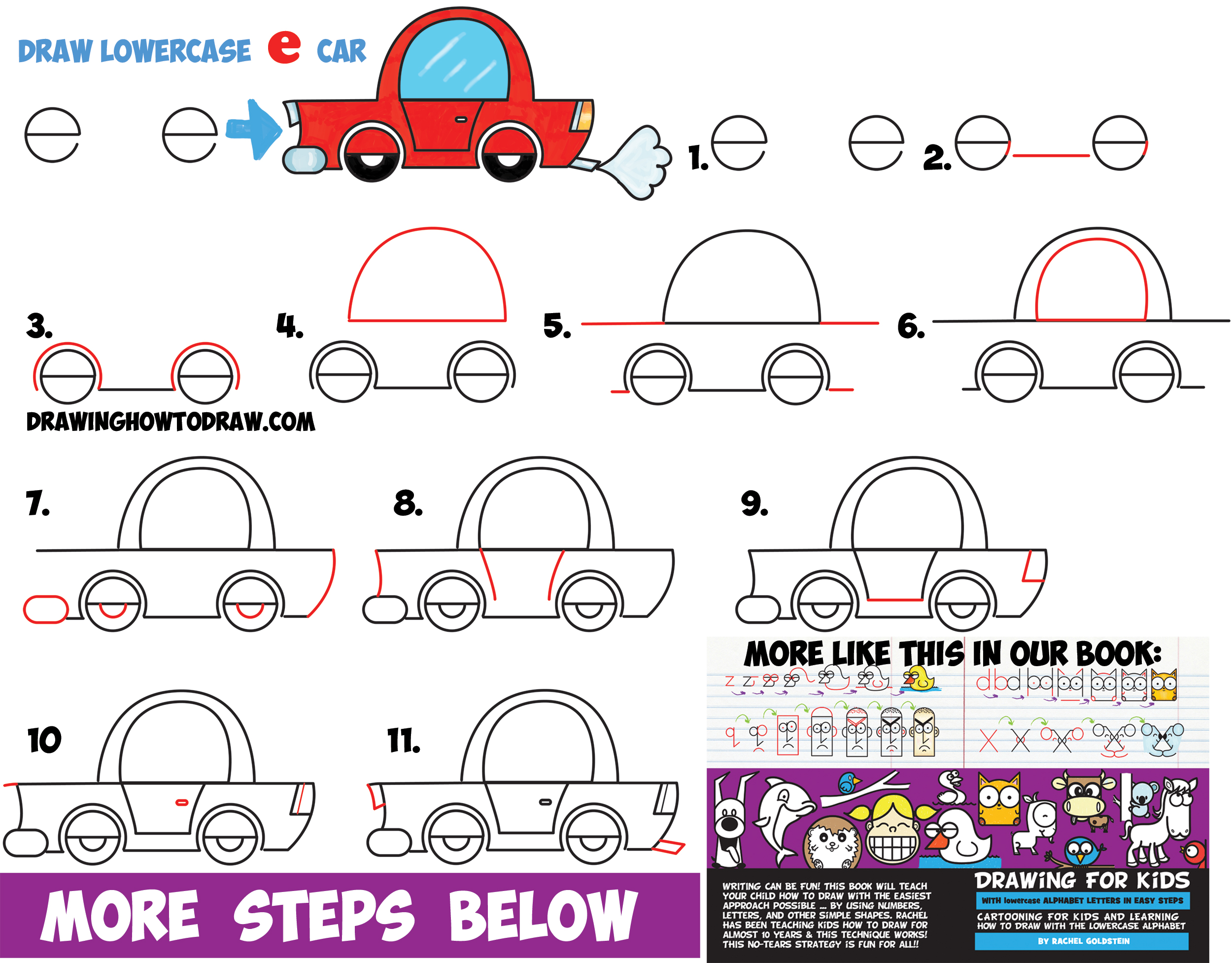 2500x1953 How To Draw A Cartoon Car From Lowercase Letter E Shapes
