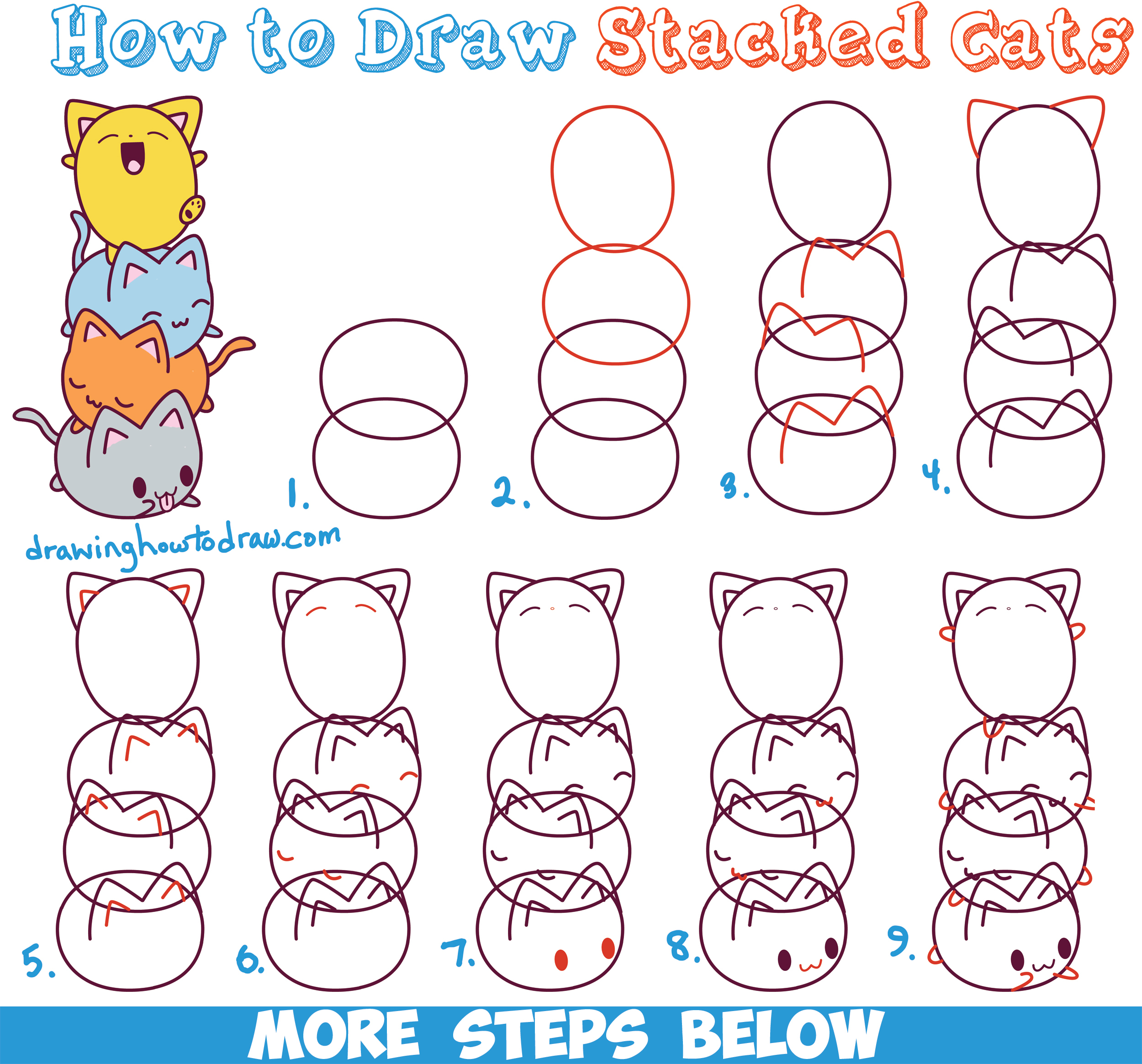 2500x2331 Cat Drawing Step By Step How To Draw Cute Kawaii Cats Stacked