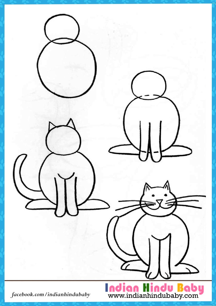 724x1024 Cat Step By Step Drawing For Kids Indian Hindu Baby