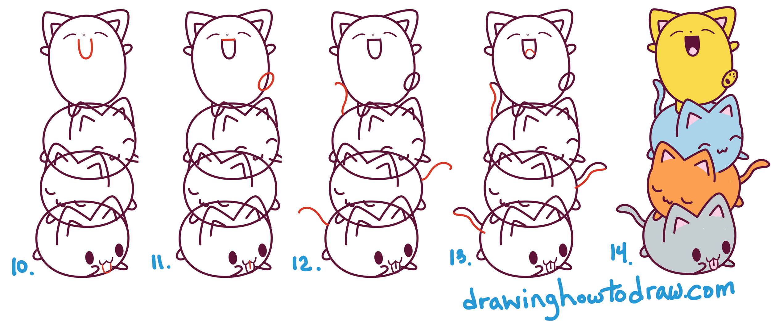 2500x1050 How To Draw Cute Kawaii Cats Stacked On Top Of Each Other