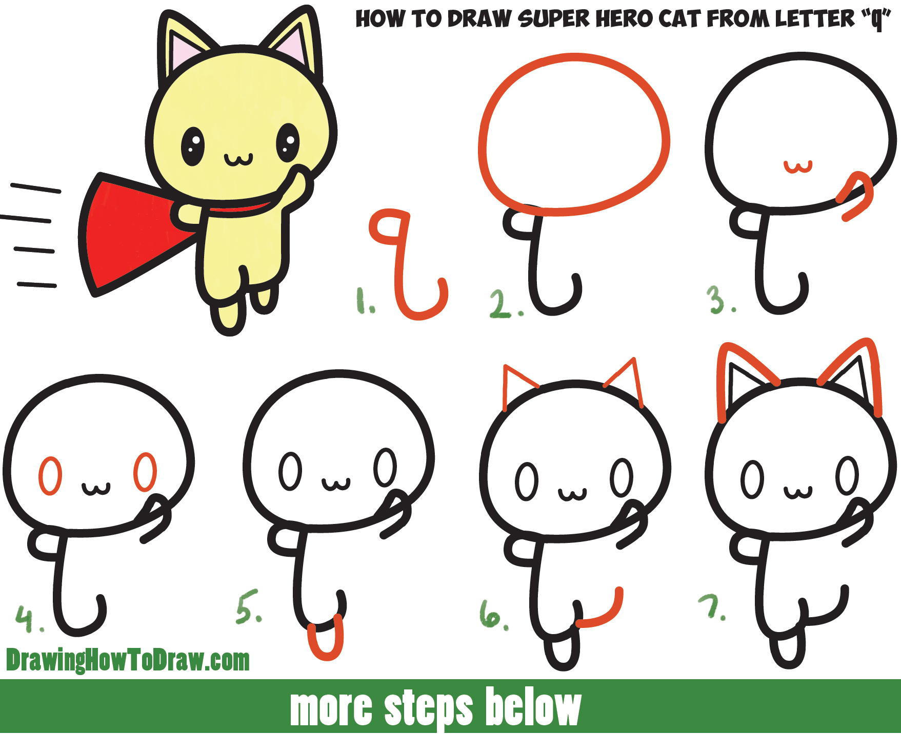 1757x1435 How To Draw A Cute Cat Super Hero (Kawaii) With Easy Step By Step