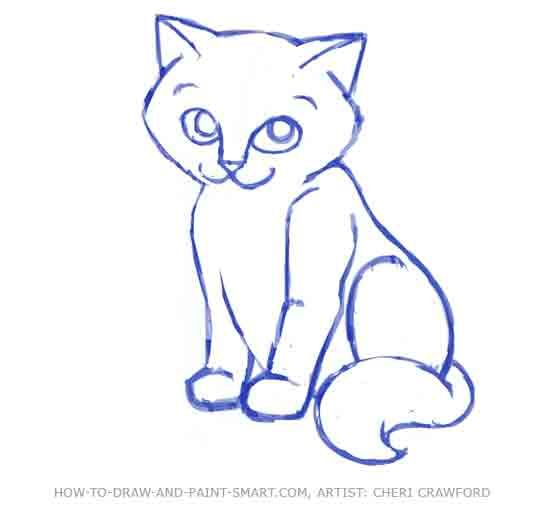 550x509 How Do You Draw A Warrior Cat How To Draw A Cat Face Step 8