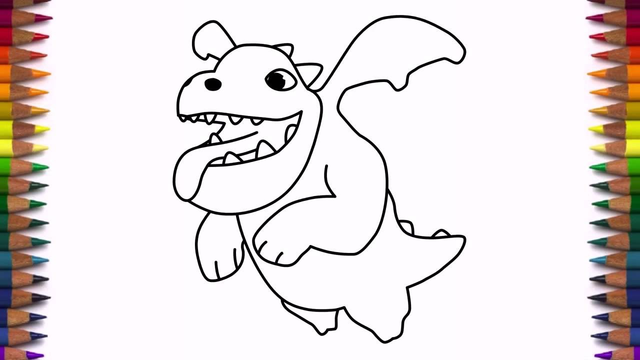 1280x720 How To Draw Baby Dragon From Clash Of Clans Characters Coc Drawing