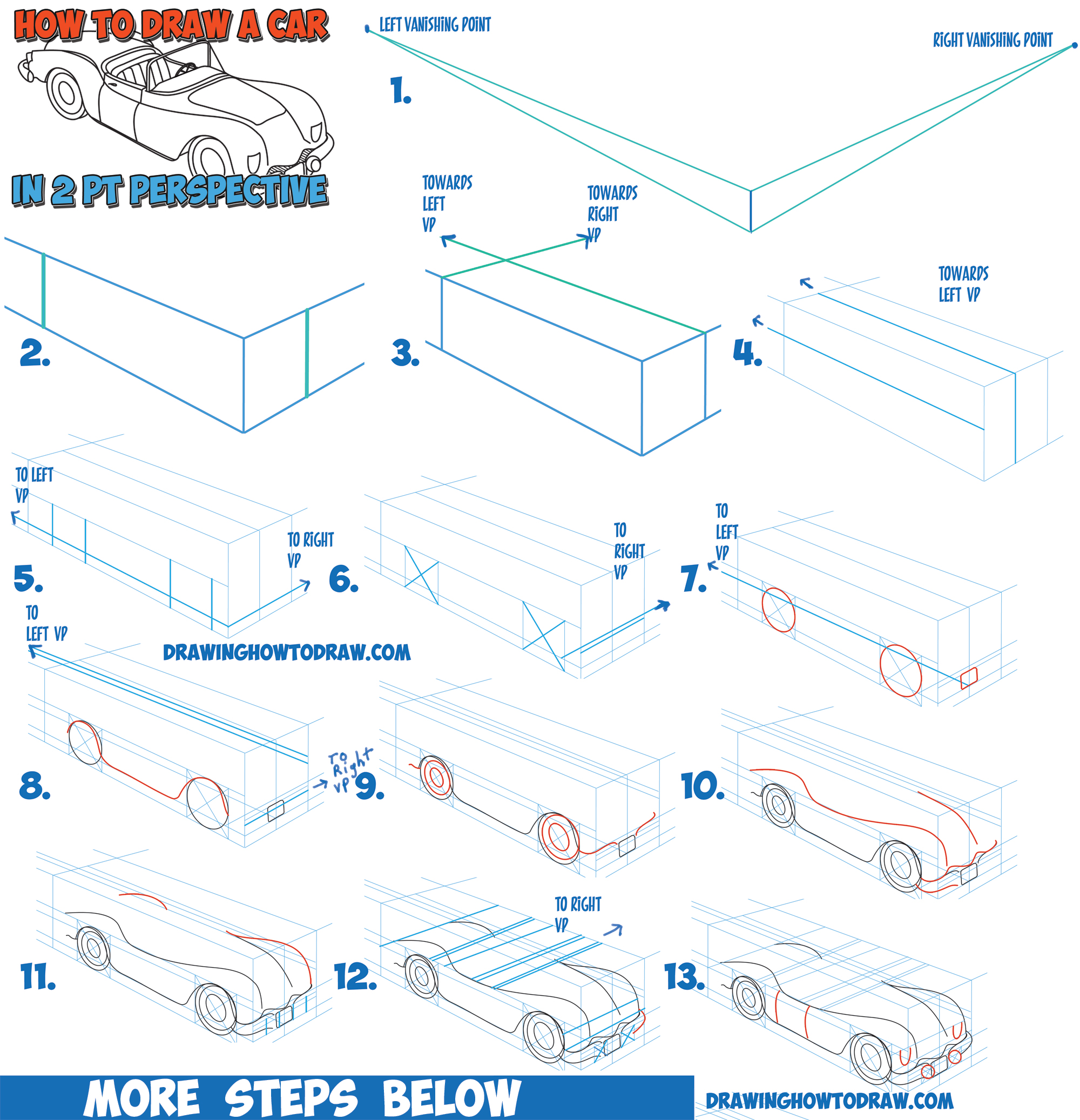 2000x2074 How To Draw A Car Convertible In Two Point Perspective Easy Step