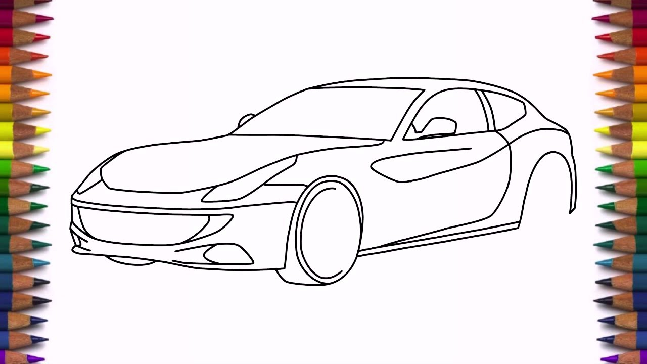 1280x720 How To Draw Ferrari Ff Step By Step Easy Drawing A Car