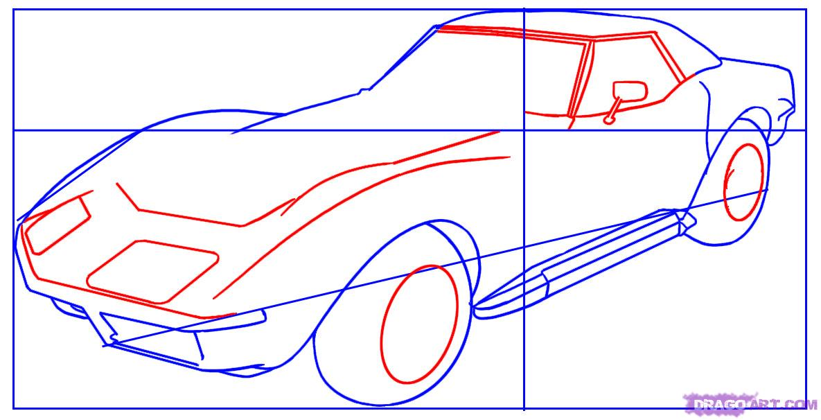 1185x606 How To Draw A Corvette How To Draw A Corvette, Step By Step
