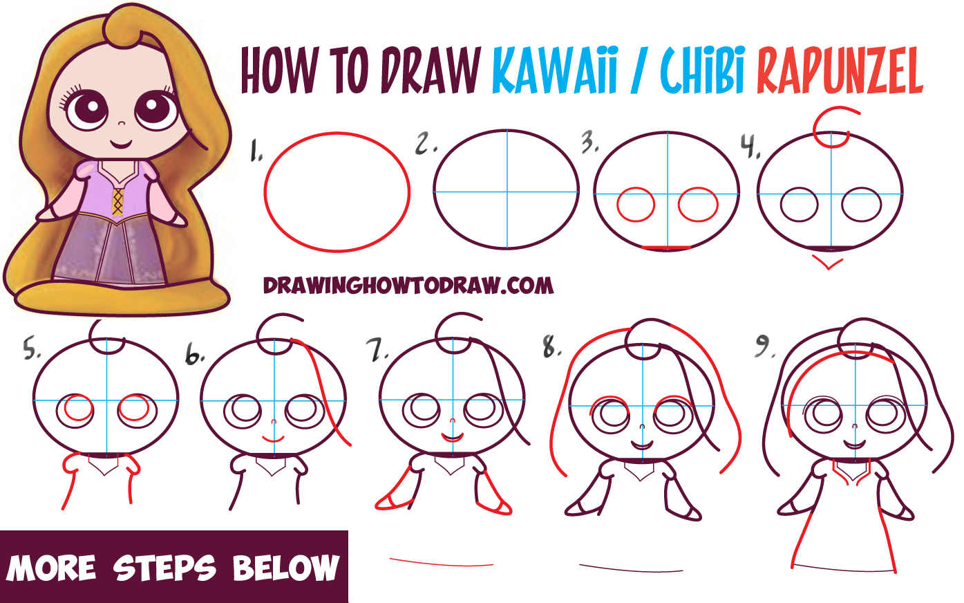 1395x872 How To Draw Kawaii Chibi Rapunzel From Disney39s Tangled In Easy