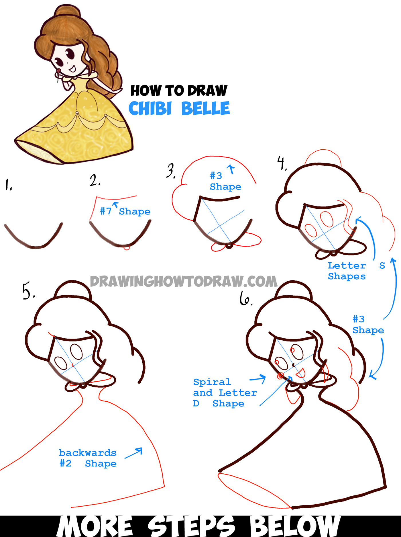 how to draw disney princess belle