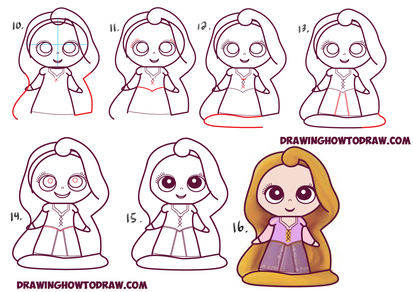 1330x942 How To Draw Kawaii Chibi Rapunzel From Disney's Tangled In Easy