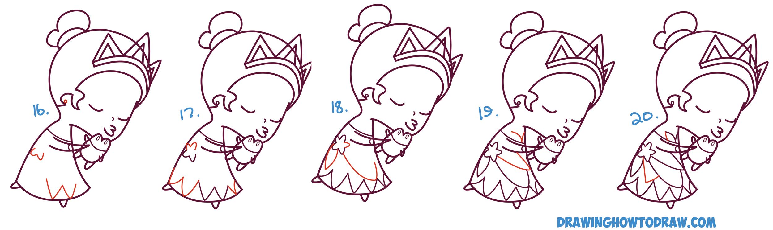 2500x746 How To Draw Princess Tiana Kissing A Frog (Cute Chibi Kawaii