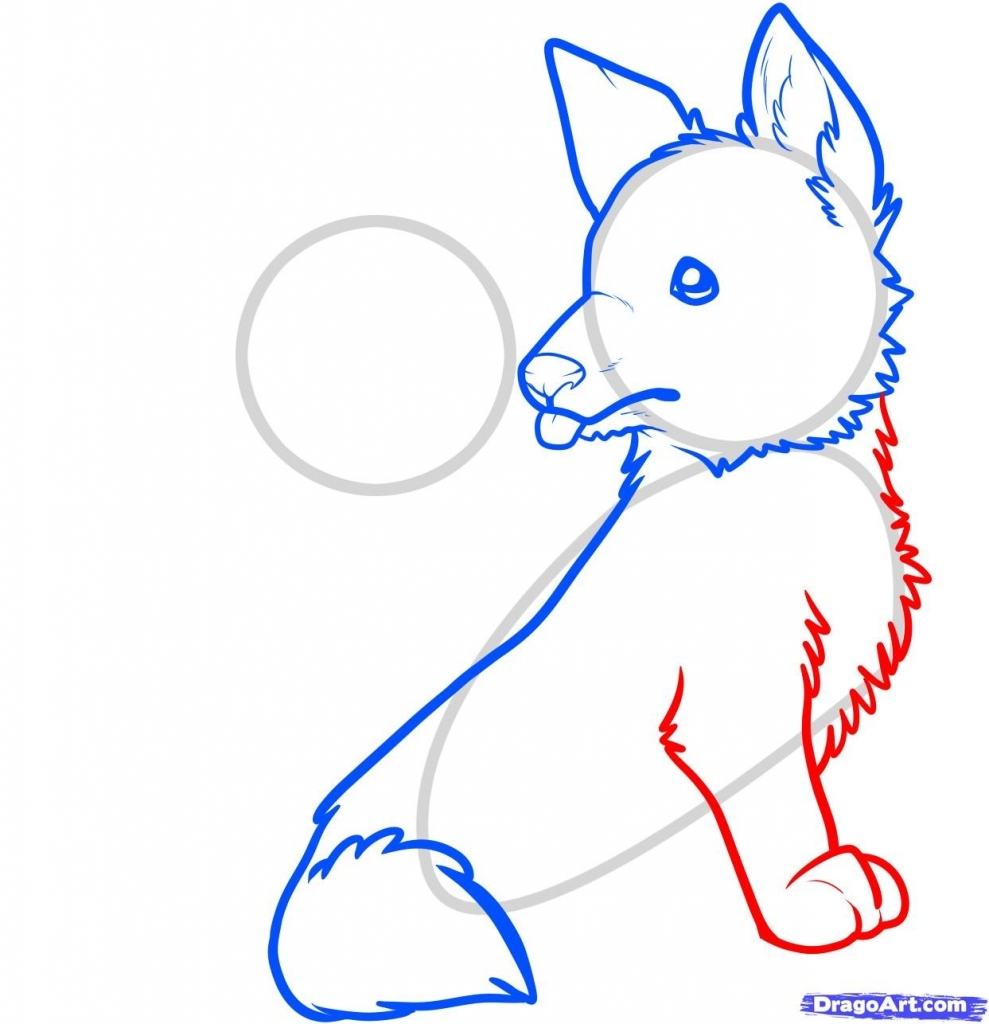 989x1024 How To Draw A Puppy Step By Step How To Draw Wolf Pups Wolf