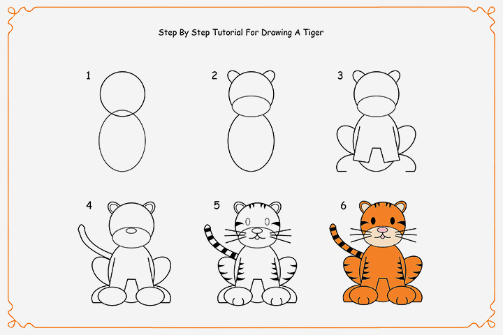 720x480 How To Draw A Tiger Step By Step For Kids
