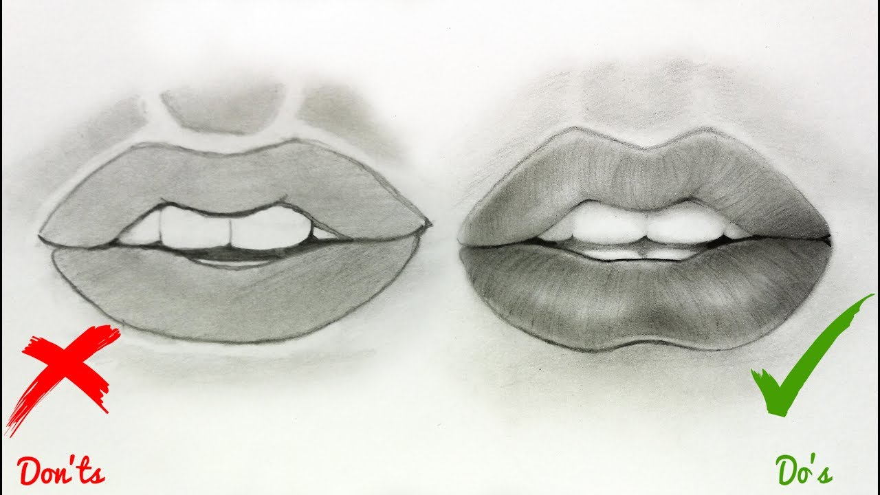 1280x720 Lips Drawings Easy Step By Step Dos Don'Ts How To Draw Realistic