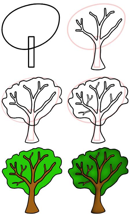 450x740 How To Draw Cartoon Trees