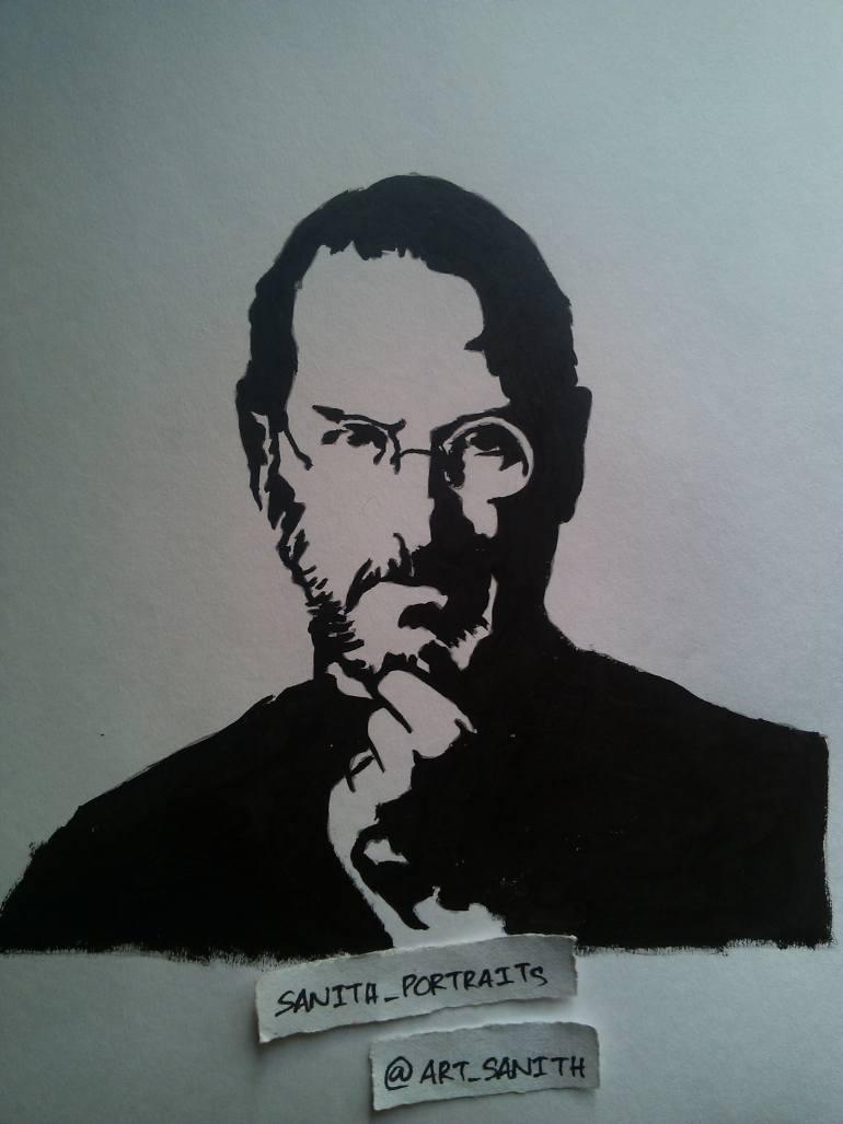 770x1027 Saatchi Art Steve Jobs Stencil Art Drawing By Sanith Raj S