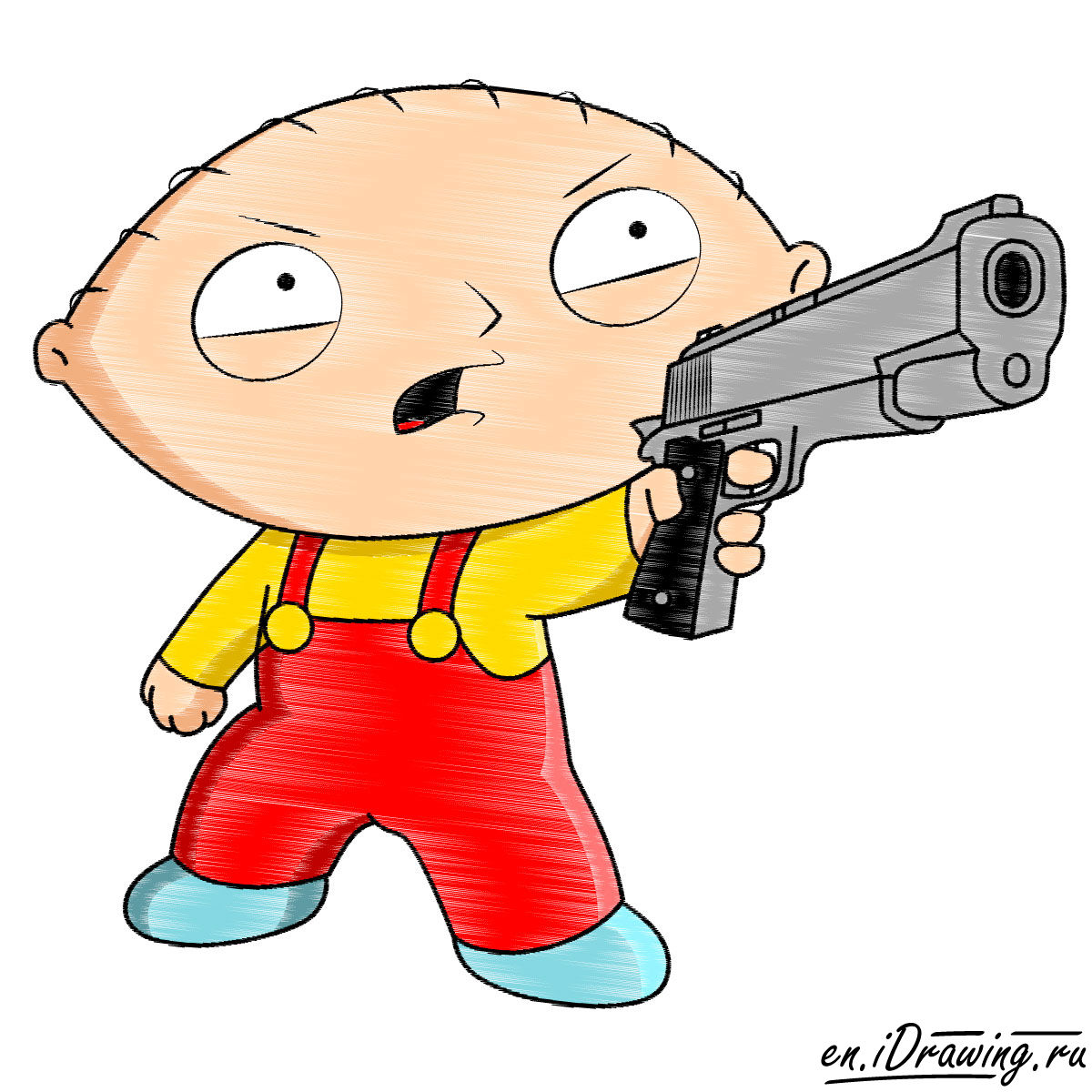 1200x1200 How To Draw Stewie Griffin With Pistol