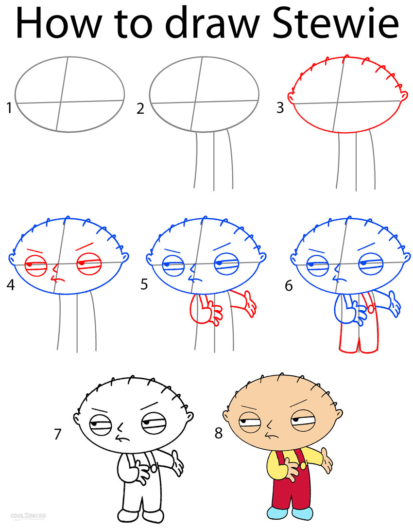 850x1086 How To Draw Stewie Step By Step Drawing Tutorial With Pictures