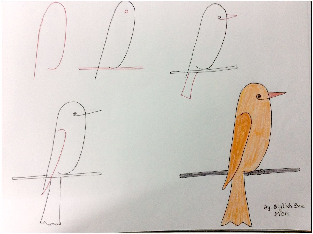 1296x968 Bird On Stick Kid Friendly Drawings And Crafts