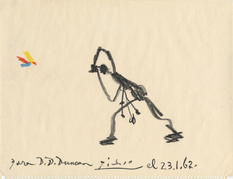 475x365 Color Drawing By Pablo Picasso, Of A Stick Figure Photographer
