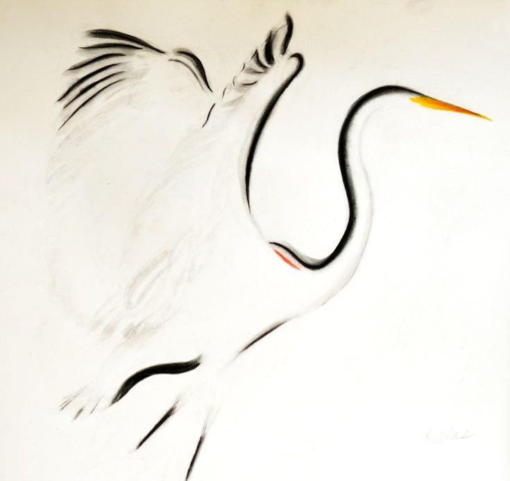 735x693 Heron Charcoal Sticks, Watercolor Bird And Watercolor