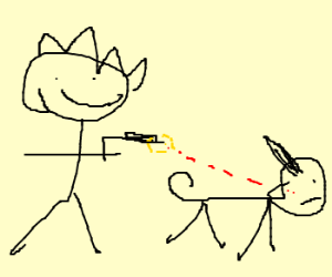 300x250 Stick Man Happy To Shoot His Stick Dog (Drawing By Ondra)