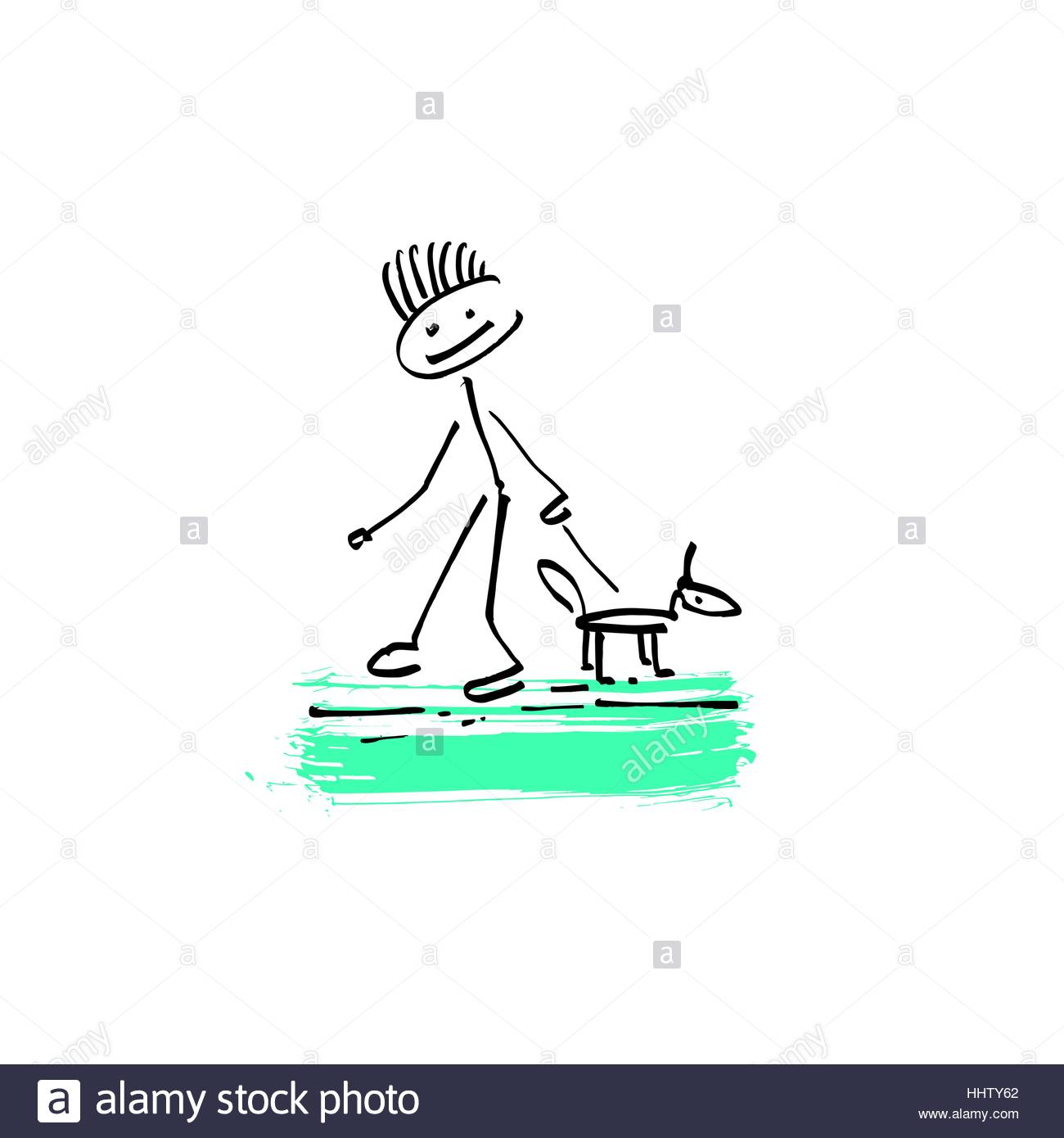 1300x1390 Drawing Sketch Doodle Human Stick Figure Man Walking With A Dog
