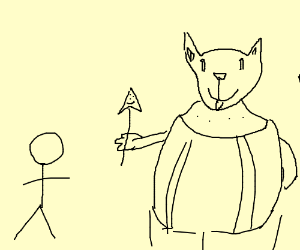 300x250 Stick Man With Greater Dog In Background