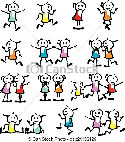 415x470 A Set Of Collection Of Children Stick Figure Vector Illustration