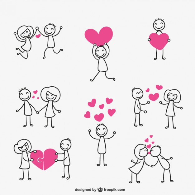 626x626 Stick Figure Couple In Love Vector Free Download