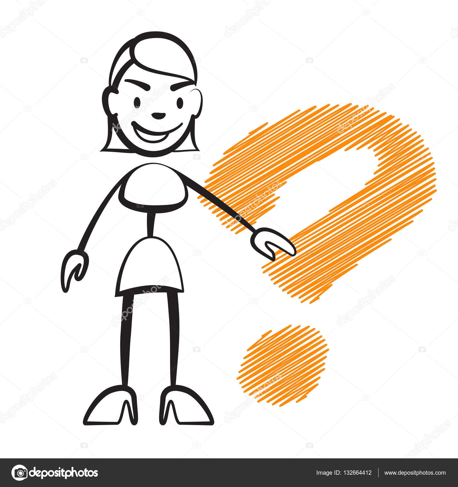 1600x1700 Stick Figure Woman With Question Mark Stock Vector Mail
